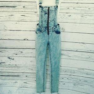 🔥 HP! Acid Wash Highway Jeans Bib Zipper Overalls